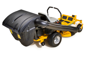 Hustler zero turn lawn mower with rear catcher